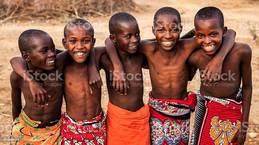 Group of happy African boys from Samburu tribe, Kenya, Africa stock photo