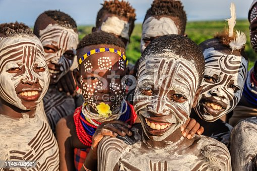 Group of happy African children - Southern Ethiopia, East Africa
