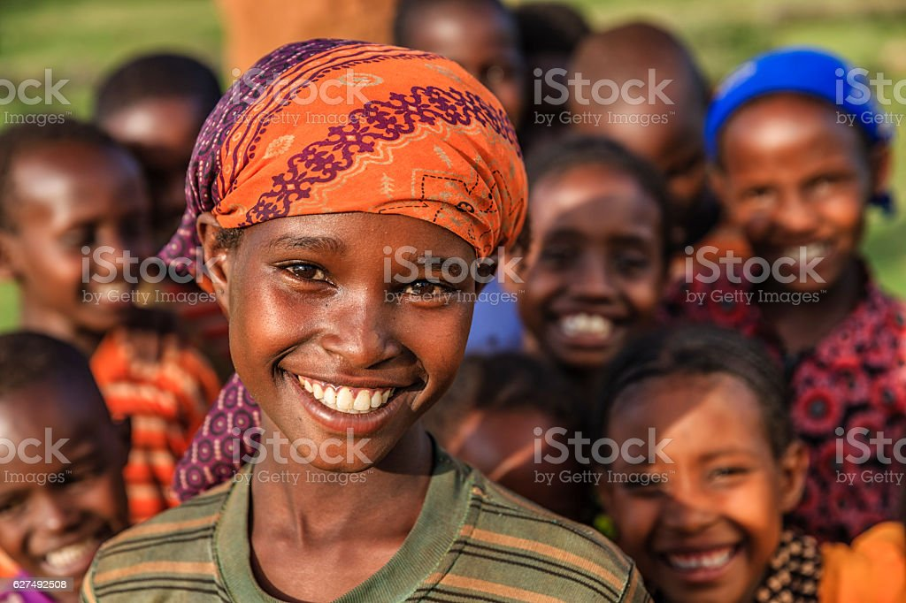 Group of happy African children, East Africa圖像檔