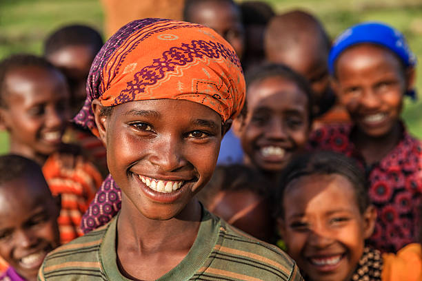 Group of happy African children, East Africa Group of happy African children - Ethiopia, East Africa east africa stock pictures, royalty-free photos & images