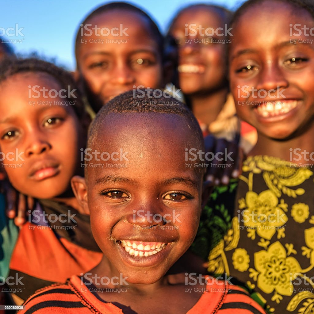 Group of happy african children east africa royalty free stock photo