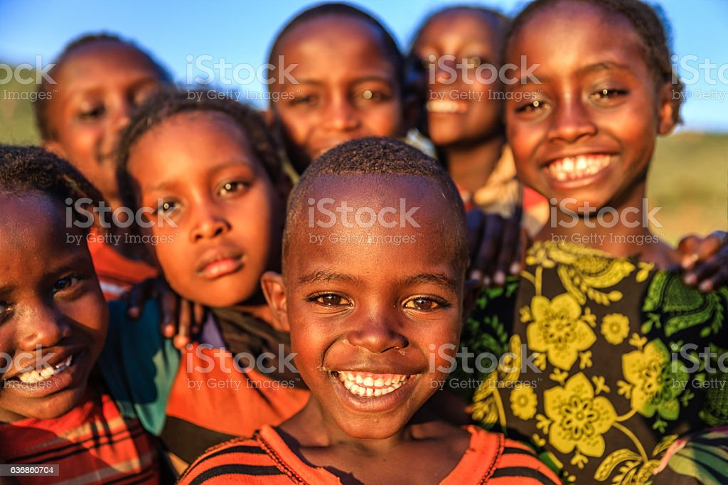 Group of happy African children, East Africa stock photo