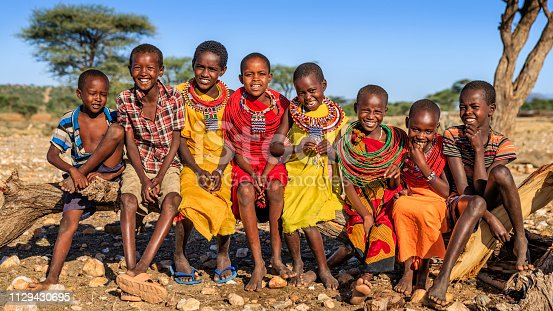 Group of happy African children from Samburu tribe, Kenya, Africa. Samburu tribe is north-central Kenya, and they are related to  the Maasai.