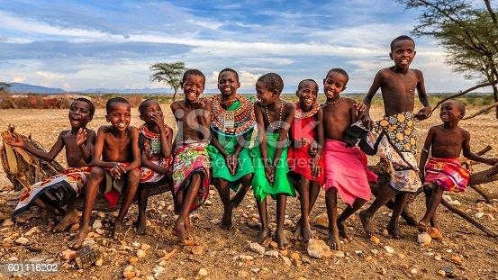 istock Group of happy African children from Samburu tribe, Kenya, Africa 601116202