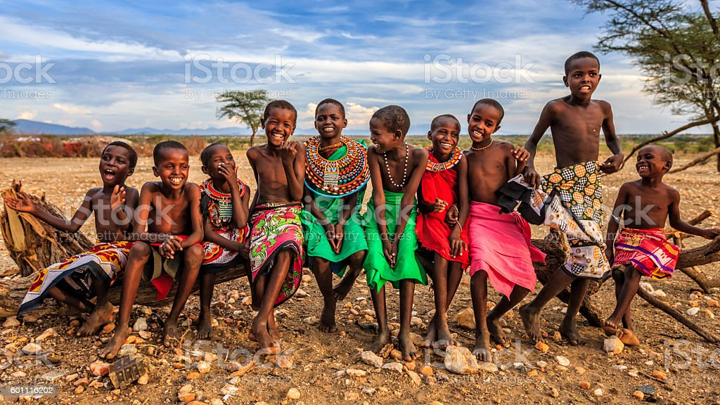 Group of happy African children from Samburu tribe, Kenya, Africa stock photo