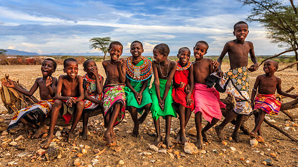 group of happy african children from samburu tribe, kenya, africa - african culture stock photos and pictures