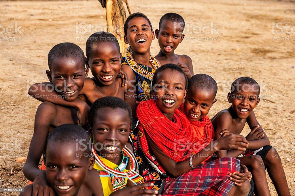 Group Of Happy African Children From Samburu Tribe Kenya ...