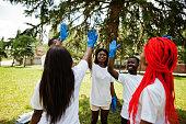 istock Group of happy african volunteers 1163916653