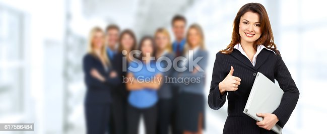 istock Group of happy business people. 617586484