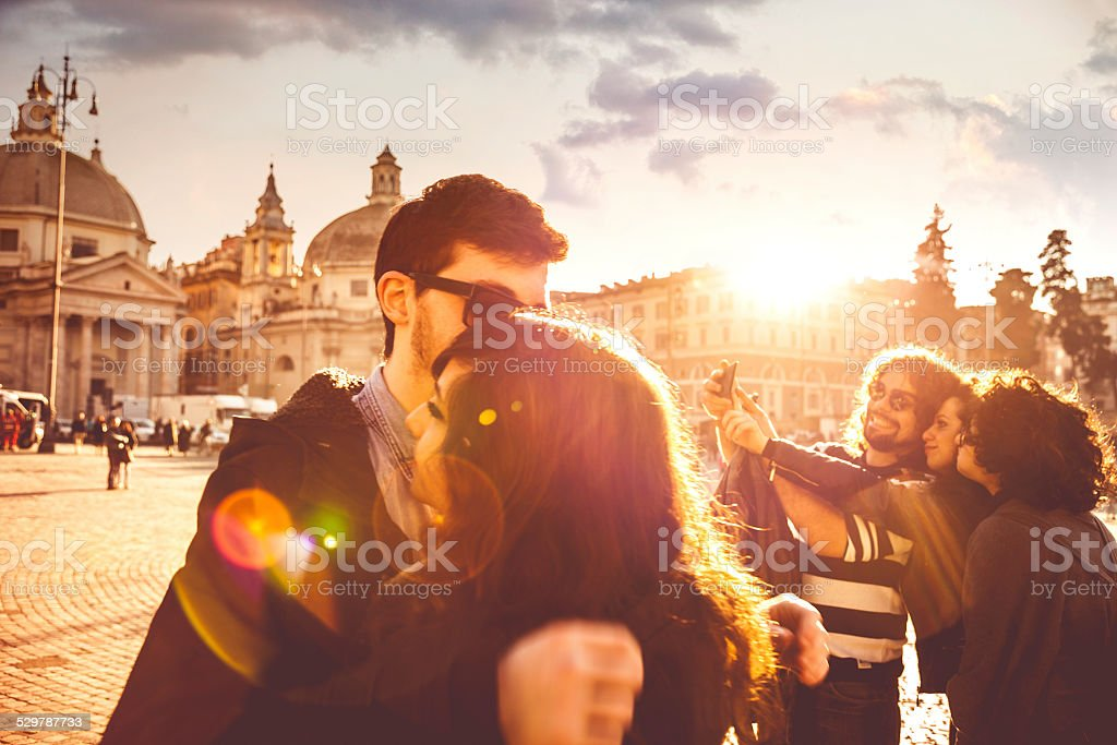 Group of happy friends stock photo