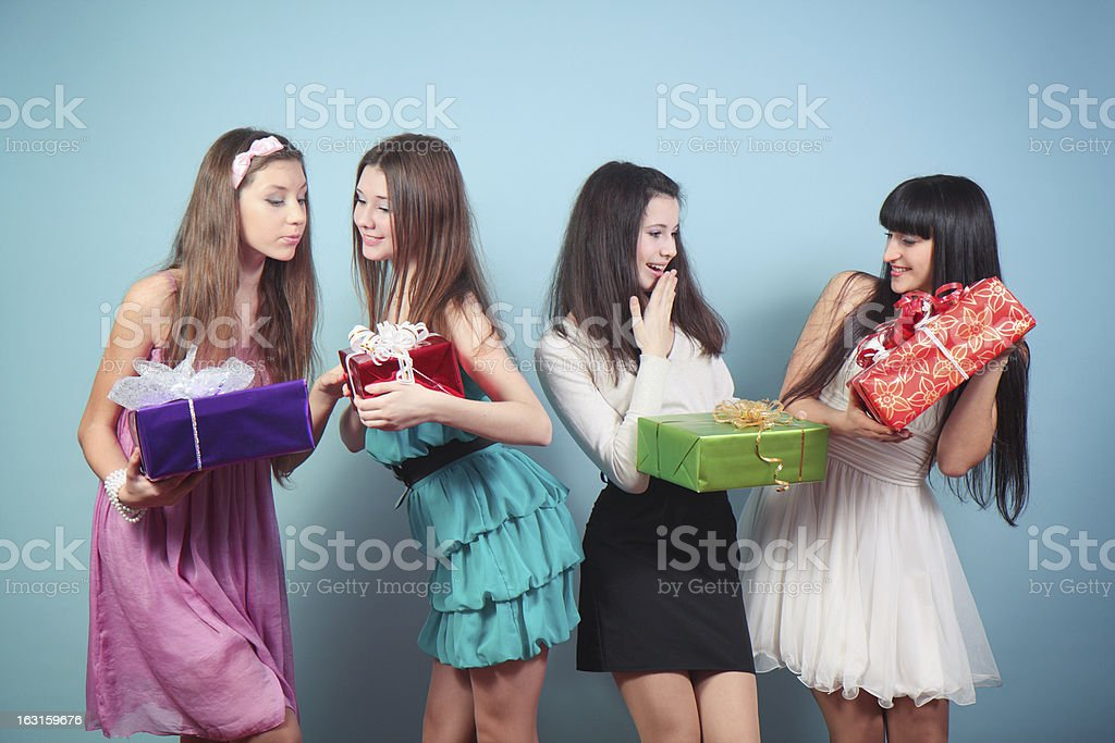 Group of  happy girl with gifts. royalty-free stock photo