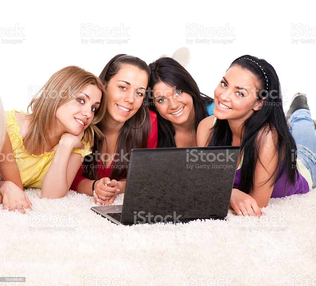 group of happy girls surfing on internet royalty-free stock photo