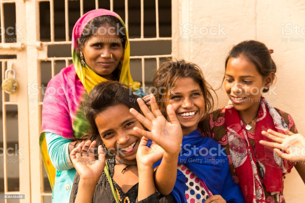 Group of happy gypsy indian children (Family) stock photo