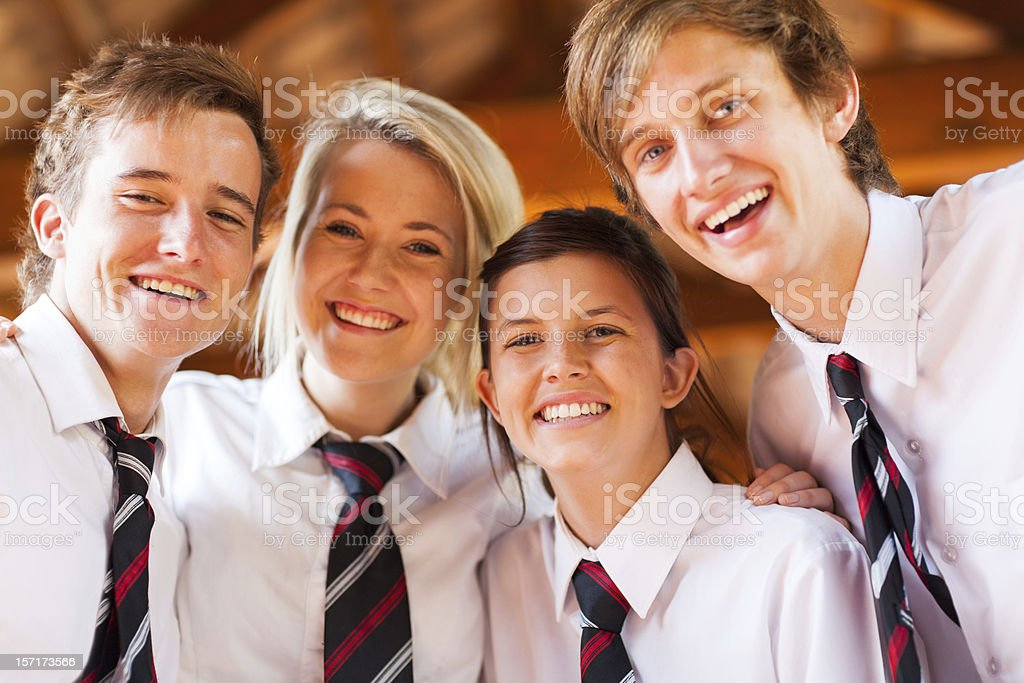 group of happy high school students stock photo