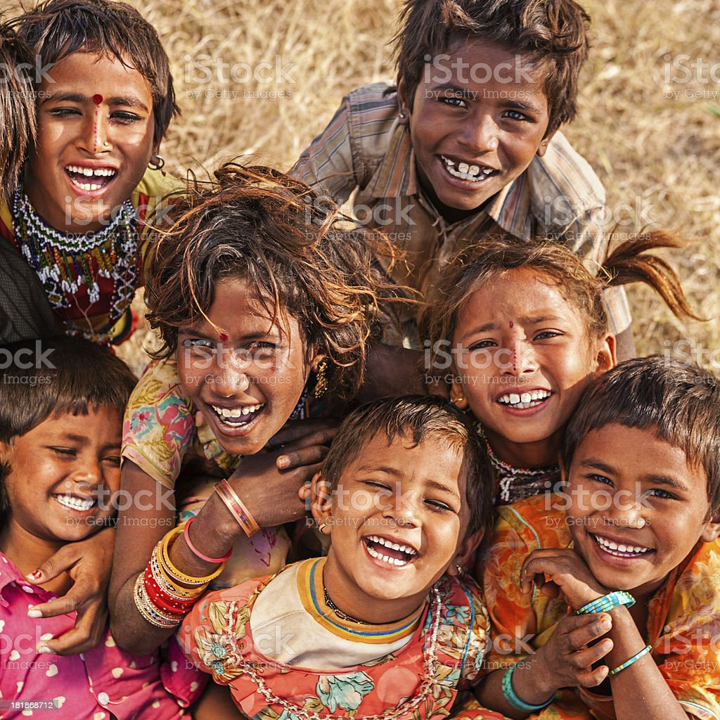 Group of happy Indian children, desert village, India royalty-free stock photo