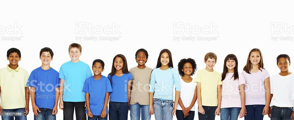 Group of happy kids in a row stock photo