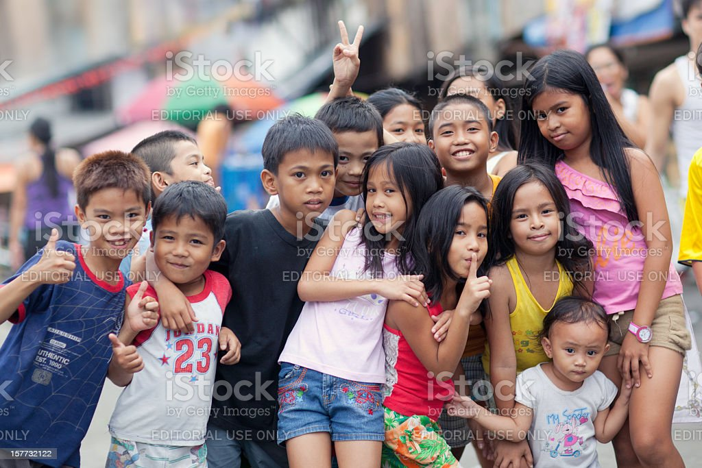 Group of happy kids stock photo