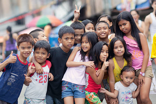 group of happy kids - philippines stock photos and pictures