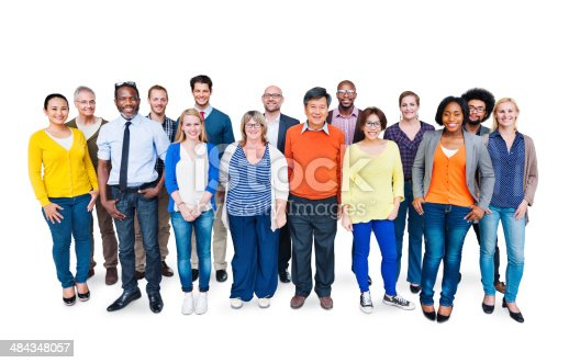 istock Group Of Happy Multi-Ethnic People Standing On A White Background 484348057