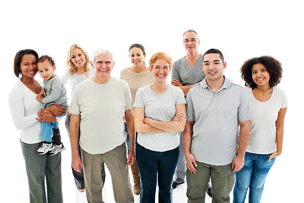 Group of Happy Multi-generation Family smiling. stock photo