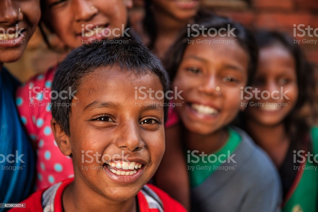 Group of happy Nepalese children in Bhaktapur, Kathmandu Valley stock photo