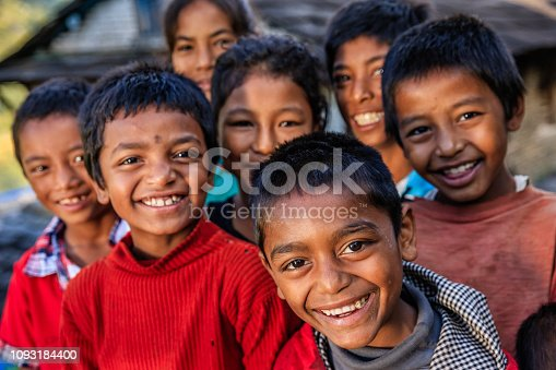 Group of happy Nepali children in a village in Annapurna Conservation Area. The Annapurna region is in western Nepal where some of the most popular treks (Annapurna Sanctuary Trek, Annapurna Circuit) are located. Peaks in the Annapurnas include 8,091m Annapurna I, Nilgiri and Machhapuchchhre. The Annapurna peaks are among the world's most dangerous mountains to climb.
