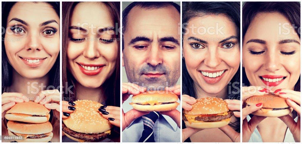 Resultado de imagen para gente comiendo hamburguesa