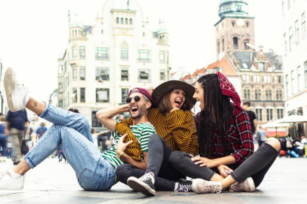 Group of happy people enjoying Copenhagen Denmark stock photo