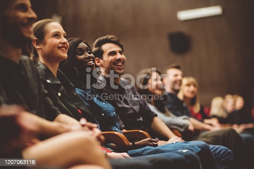 483876497 istock photo Group of happy people in the cinema 1207063116