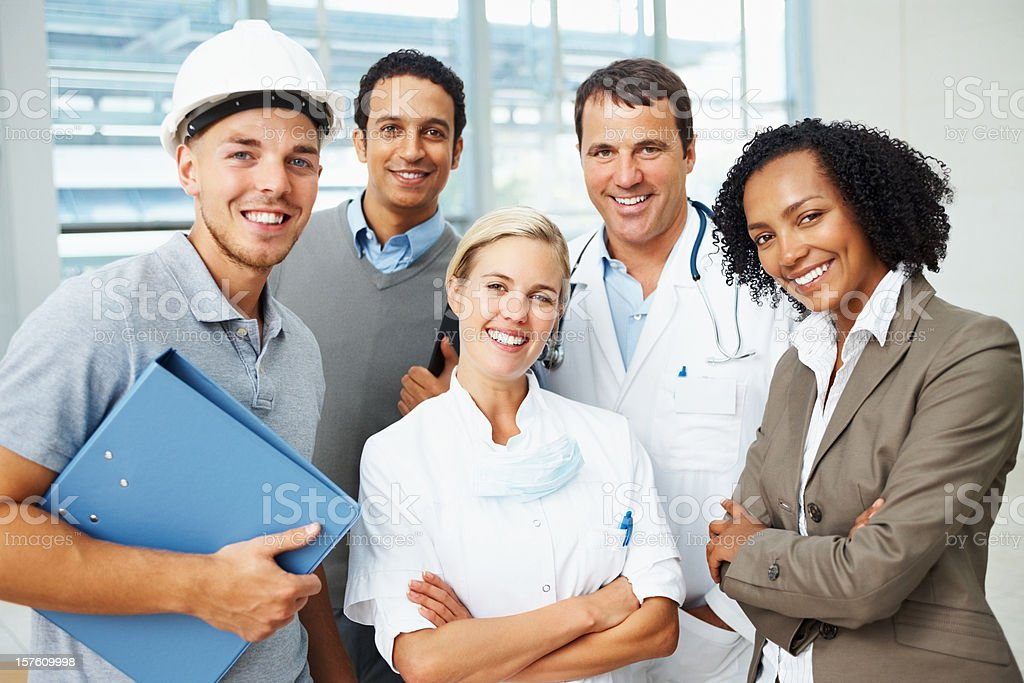 Group of happy people with different professions royalty-free stock photo