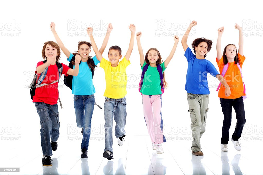 Group of happy running children. royalty-free stock photo