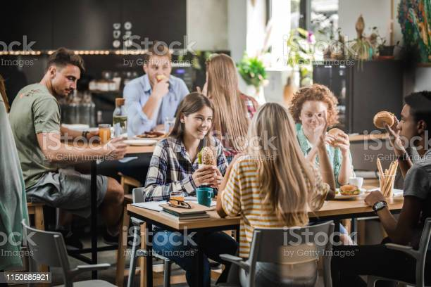 Group of happy students talking while having lunch break at cafeteria picture id1150685921?b=1&k=6&m=1150685921&s=612x612&h=cx7b9ya9ijvfrl08ubsam3av odusunigzj8myevfjk=