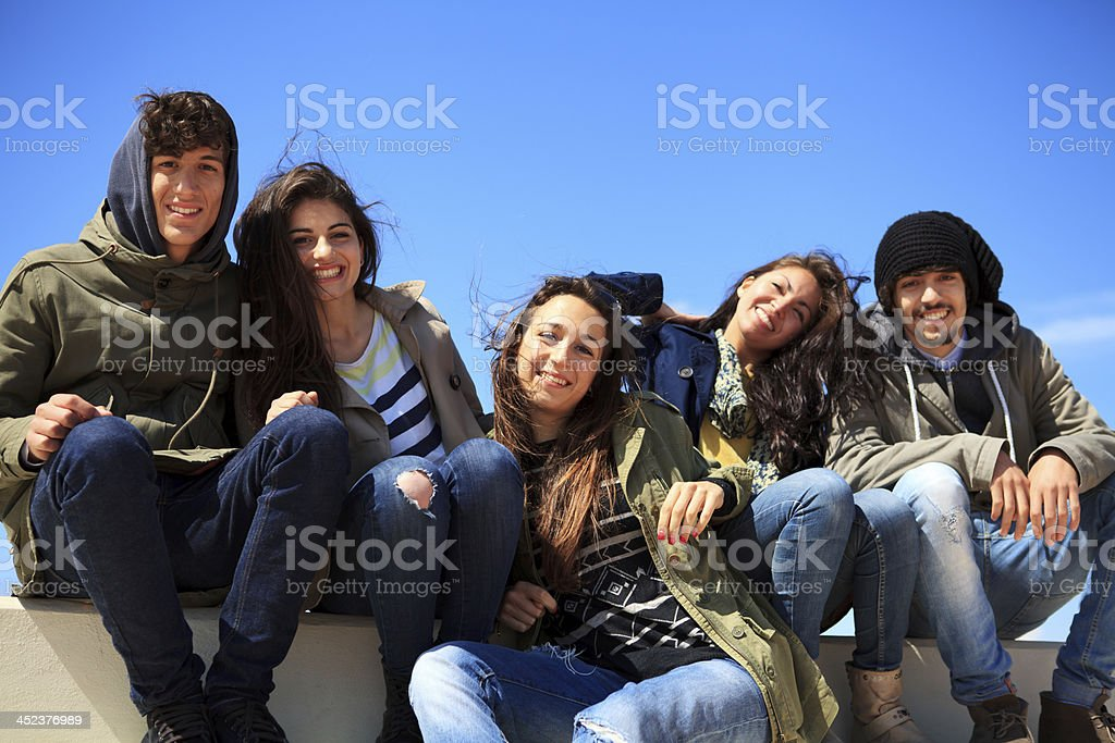 Group of happy teenagers royalty-free stock photo