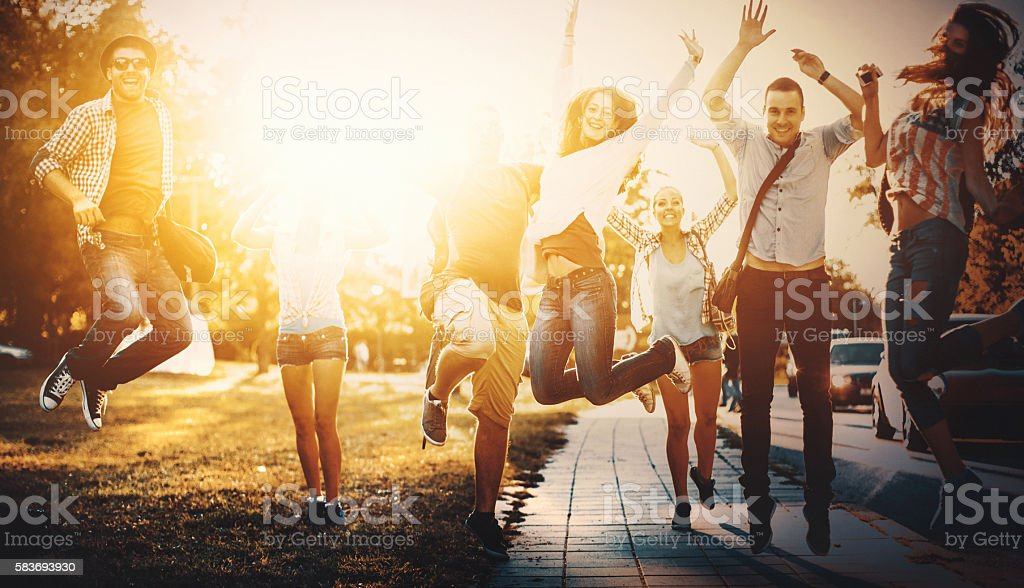 Group of happy youngsters. stock photo