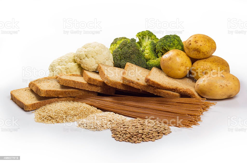 group of healthy carbohydrates stock photo