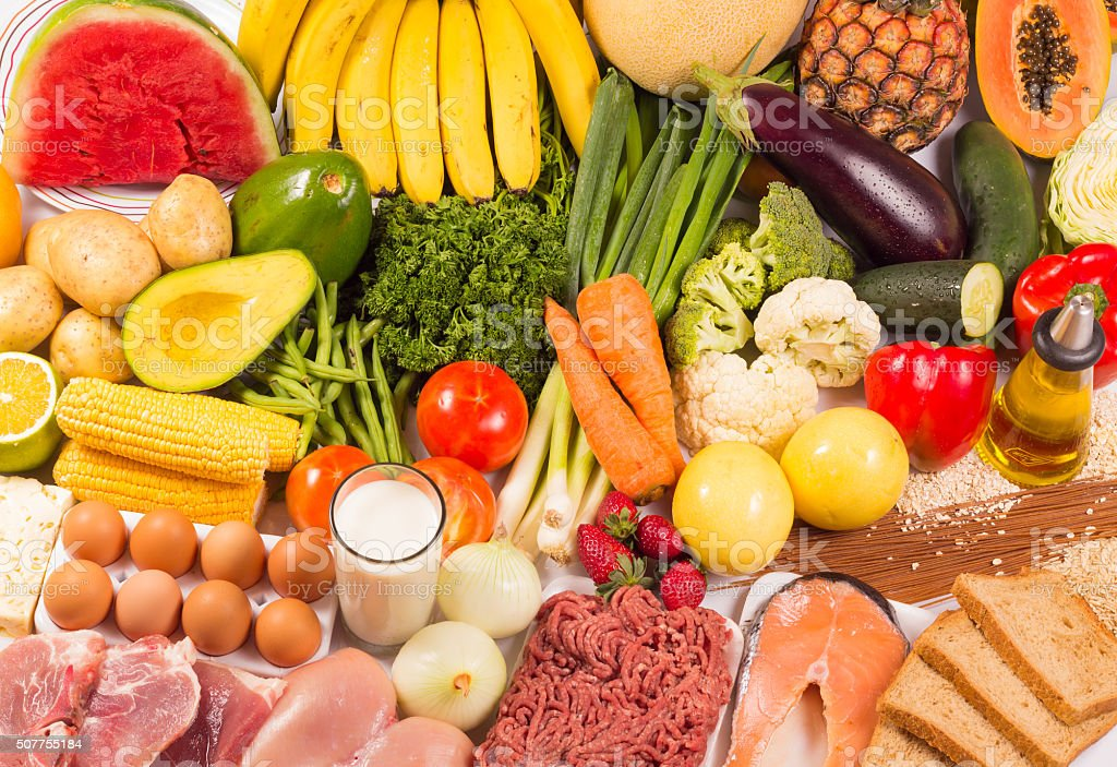 Group of healthy food stock photo