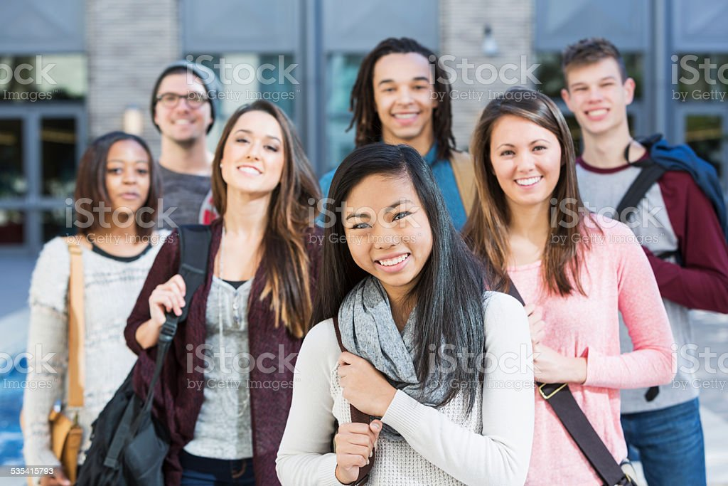 Group of high school or college students stock photo