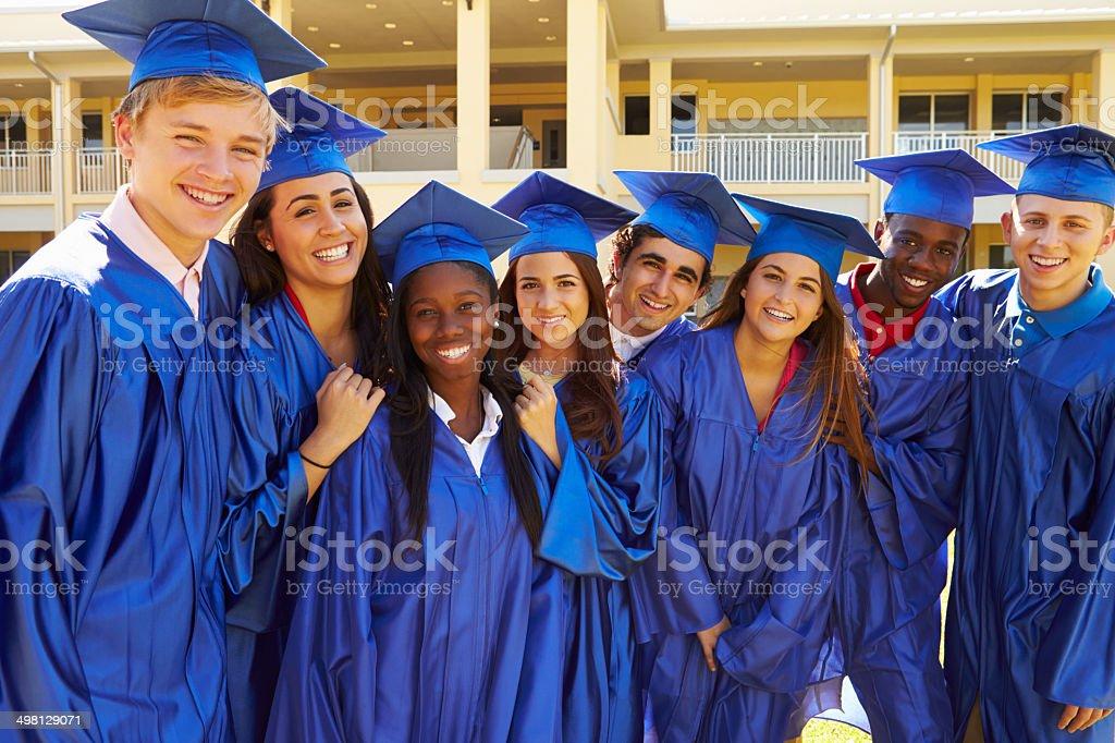 Group Of High School Students Celebrating Graduation stock photo