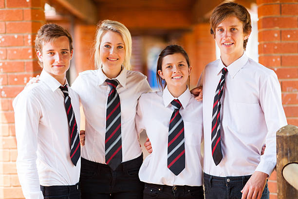 group of high school students stock photo