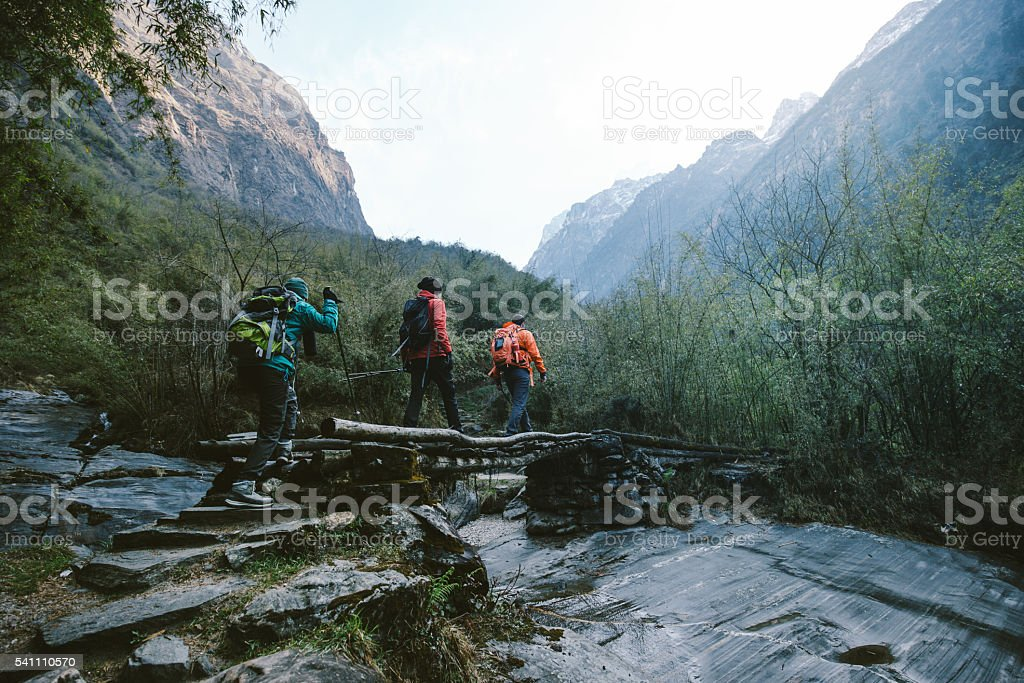 Group of hikers crossing the bridge stock photo