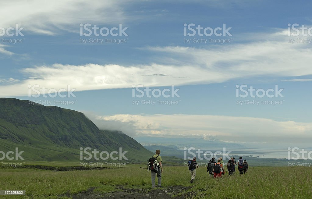 Group of Hikers in the Rift Valley royalty-free stock photo