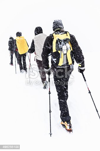 istock Group of hikers walking on snow-covered mountain 495255100
