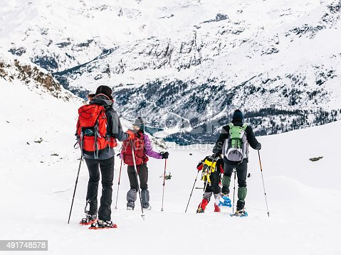 istock Group of hikers with snowshoes in the snowy mountains 491748578