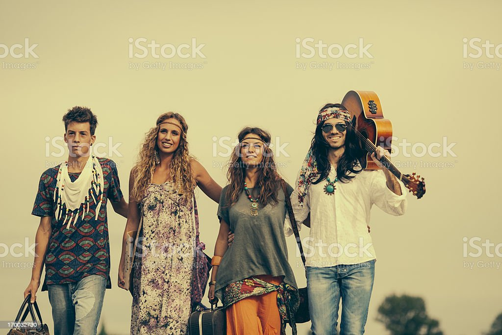 Group of hippies friends, posing royalty-free stock photo