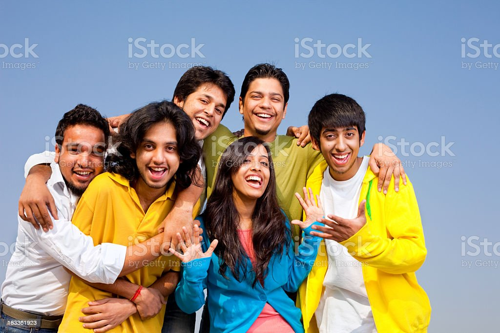 Group of Hispanic Asian Indian Sri Lankan Pakistani Friends - Stock image .