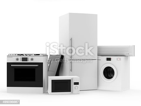 istock Group of home appliances. Refrigerator, Gas cooker, Microwave, Air conditioner 499096687