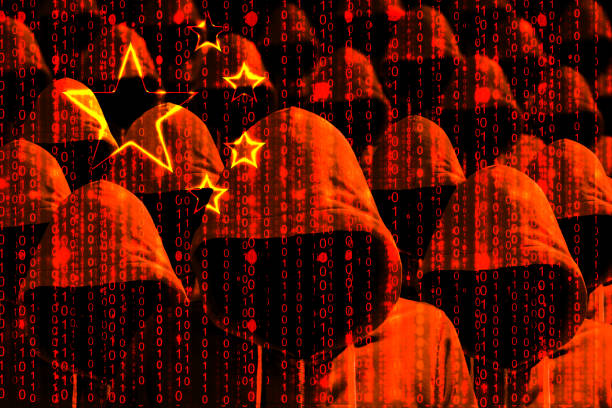 Group of hooded hackers shining through a digital chinese flag Group of hooded hackers shining through a digital chinese flag cybersecurity concept military attack stock pictures, royalty-free photos & images