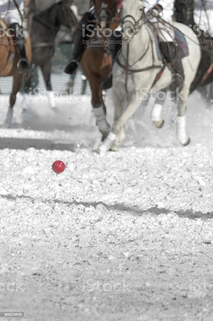 Group of horses and rider playing polo in the snow stock photo