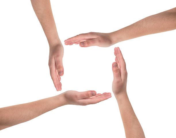 Gruppe von Menschen Hände auf weißem Hintergrund. – Foto