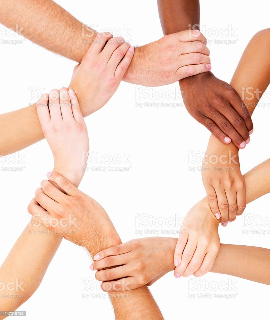 Group of human hands showing unity stock photo